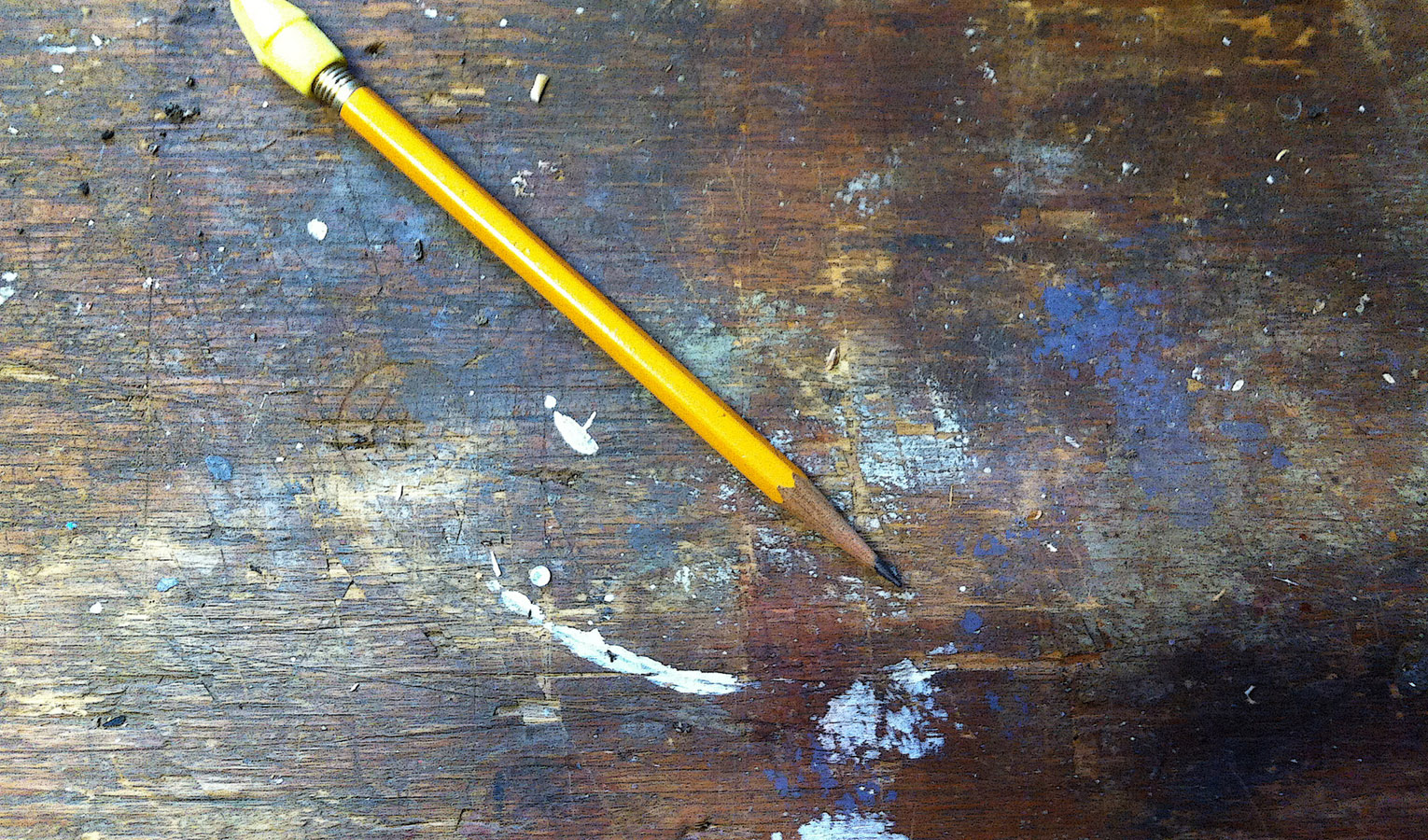 Pencil on workbench